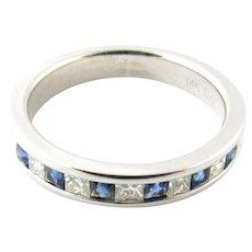 Vintage 14 Karat White Gold Sapphire and Diamond Wedding Band Size 5.5