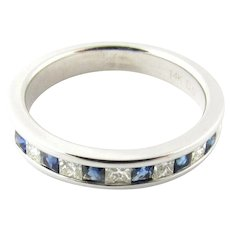Vintage 14 Karat White Gold Sapphire and Diamond Wedding Band Size 5.5