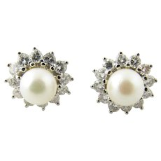 Vintage 14 Karat White Gold Pearl and Diamond Earrings