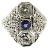 Art Deco 14K White Gold Diamond and Sapphire Filigree Dinner Ring, Size 7.75