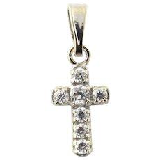 Vintage 18 Karat White Gold Cubic Zirconia Cross Pendant
