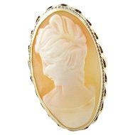 Vintage 14 Karat Yellow Gold Cameo Ring Size 8.5