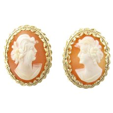 Vintage 14 Karat Yellow Gold Cameo Earrings