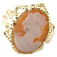 Vintage 14 Karat Yellow Gold Cameo Ring Size 8.75