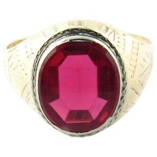 Vintage 10 Karat Yellow Gold Synthetic Ruby Ring Size 6.75
