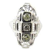 Vintage Filagree Diamond Art Deco 18K White Gold Ring size 6