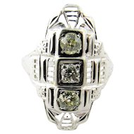 Vintage Filagree Diamond Art Deco 18K White Gold Ring size 6