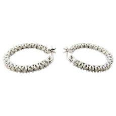 Vintage 14 Karat White Gold Inside Out Diamond Hoop Earrings