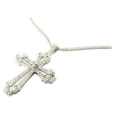 Vintage 14 Karat White Gold Diamond Cross Pendant Necklace