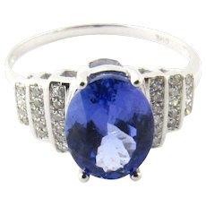 Vintage 14 Karat White Gold Tanzanite and Diamond Ring Size 7