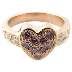 Vintage 14 Karat Yellow Gold Pink and White Diamond Heart Ring Size 5