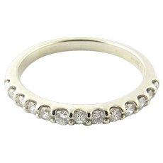 Vintage 14 Karat White Gold Diamond Wedding Band Size 6.75
