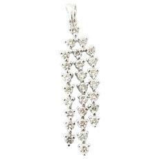 Vintage 18 Karat White Gold Diamond Pendant