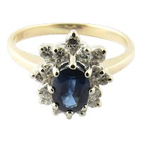 Vintage 14 Karat White and Yellow Gold Sapphire and Diamond Ring Size 5.5