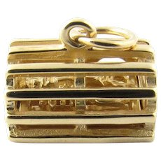 Vintage 14 Karat Yellow Gold 3D Lobster Trap with Lobster Charm