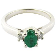 Vintage 14 Karat White Gold Emerald and Diamond Ring Size 6.25