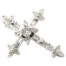 Vintage 14 Karat White Gold Diamond Cross Pendant