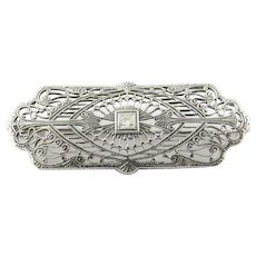 Vintage 10 Karat White Gold and Diamond Brooch/Pin