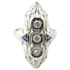 Vintage 18 Karat White Gold Diamond and Sapphire Ring Size 6.5