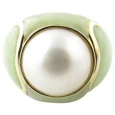 Vintage 14 karat Yellow Gold Pearl and Jade Ring Size 6.75