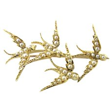 Vintage 18 Karat Yellow Gold and Seed Pearls Swallows in Flight Brooch