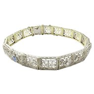Vintage 14 Karat White and Yellow Gold Filigree Diamond and Sapphire Bracelet 6.75 inches