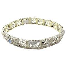 Vintage 14 Karat White and Yellow Gold Filigree Diamond and Sapphire Bracelet 6.75 inches