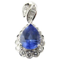 Vintage Platinum Tanzanite and Diamond Pendant