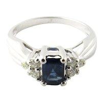 Vintage 14 Karat White Gold Sapphire and Diamond Ring Size 4.75