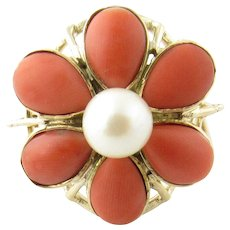 Vintage 14 Karat Yellow Gold Coral and Pearl Ring Size 6.5