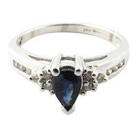 Vintage 14 Karat White Gold Sapphire and Diamond Ring Size 6.75