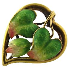 Antique Victorian Art Nouveau 14K Yellow Gold Heart Shaped Pin/Brooch With Enamel Variegated Chameleon Plant Leaves
