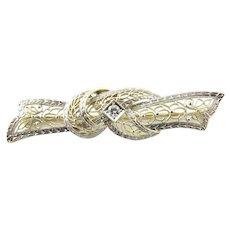Vintage 14 Karat White Gold and Diamond Brooch/Pin