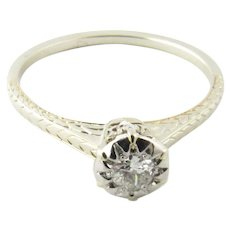 Vintage 14 Karat White Gold Diamond Engagement Ring Size 6.5