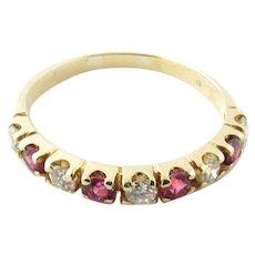 Vintage 14 Karat Yellow Gold Ruby and Diamond Ring Size 5.5