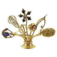 Vintage 14K Yellow Gold Flower Basket Stick Pin Brooch Handcrafted