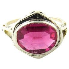 Vintage 10 Karat White Gold Synthetic Ruby Ring Size 6.25
