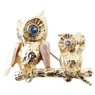 Vintage 14 Karat Yellow Gold Pearl and Blue Topaz Owl Brooch/Pin