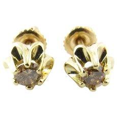 Vintage 14 Karat Yellow Gold Champagne Diamond Earrings