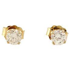 Vintage 14 Karat Yellow Gold Diamond Stud Earrings .40 ct.