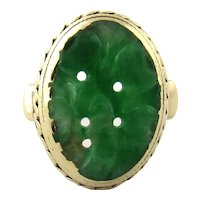 Vintage 14K Yellow Gold Carved Oval Jade Ring, Size 3.5