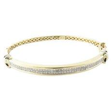 Vintage 14 Karat Yellow Gold Diamond Bangle Bracelet