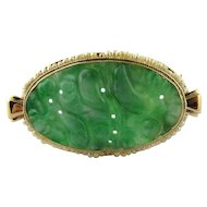 Vintage 14K Yellow Gold Oval Brooch Pin With Carved Jade And Seed Pearls