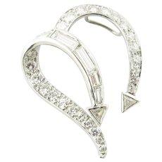 Vintage Platinum Diamond Open Heart Slide Pendant