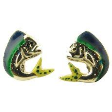 Vintage 14 Karat Yellow Gold and Enamel Mahi Mahi Fish Earrings