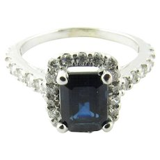 Vintage 14 Karat White Gold Sapphire and Diamond Ring Size 5.25