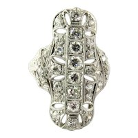 Antique Art Deco 1920's Platinum and Diamond Dinner Ring, Size 7.5