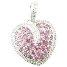 Vintage 14 Karat White Gold Pink Topaz and Diamond Heart Pendant