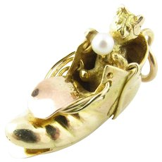 Vintage 10 Karat Gold and Pearl Kitty in Boot Charm