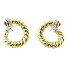 Vintage Nicolis Cola 18K Yellow Gold Diamond Ruby Hoop Earrings
